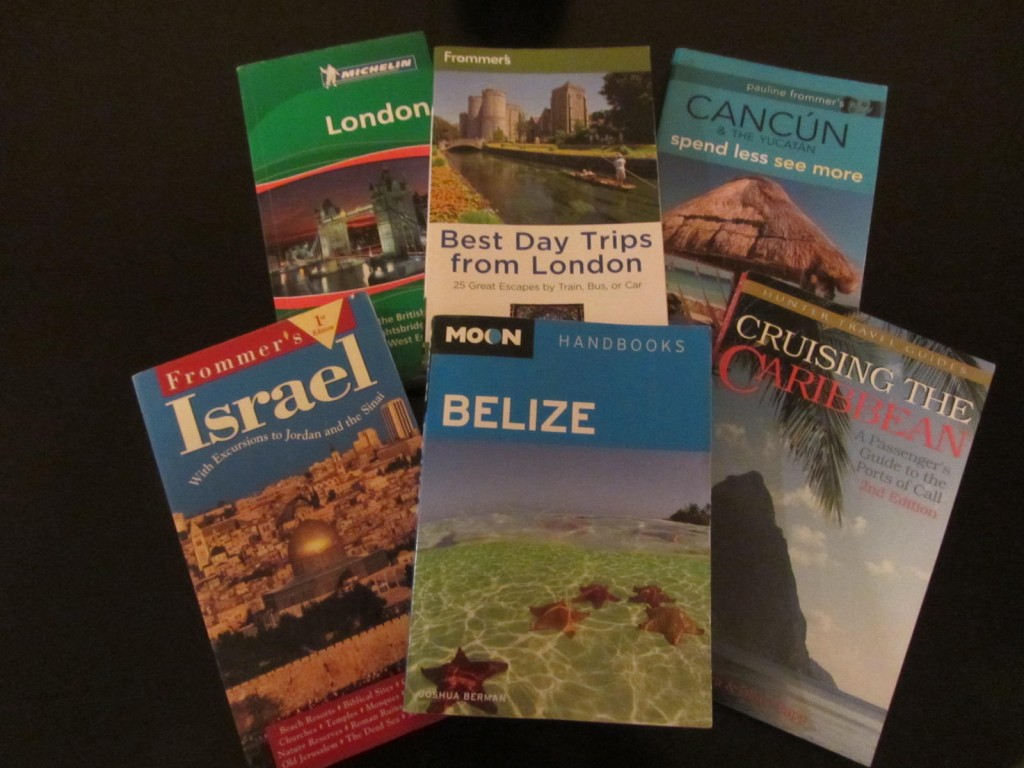 Travel guide books to London, Cancun, Yucatan, Carribean, Belize and Israel