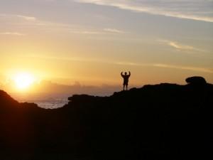 Rock climbing victory (photo credit Bryan Wintersteen)