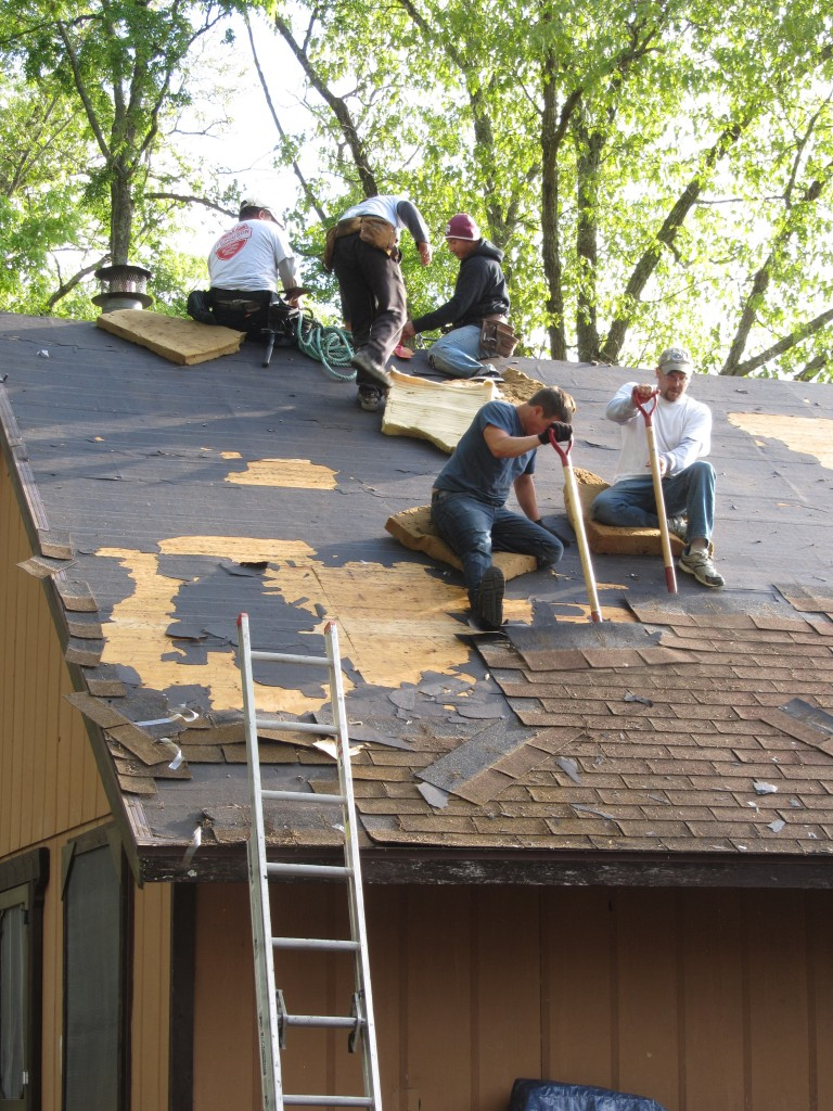 Sherwood Forest Camp Trades Weekend - new roofing on dining hall
