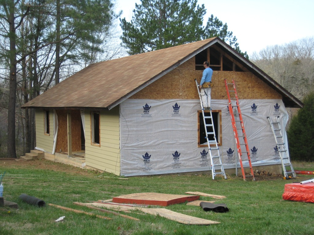 Sherwood Forest Camp Trades Weekend - new cabin getting siding