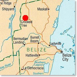 Belize Map - Crooked Tree