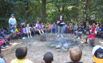 Sherwood Forest Camp - morning announcments