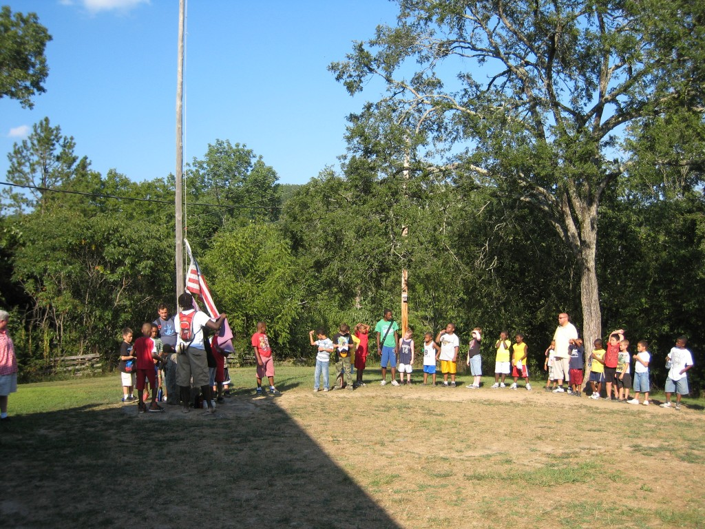 Sherwood Forest Camp - flag ceremony
