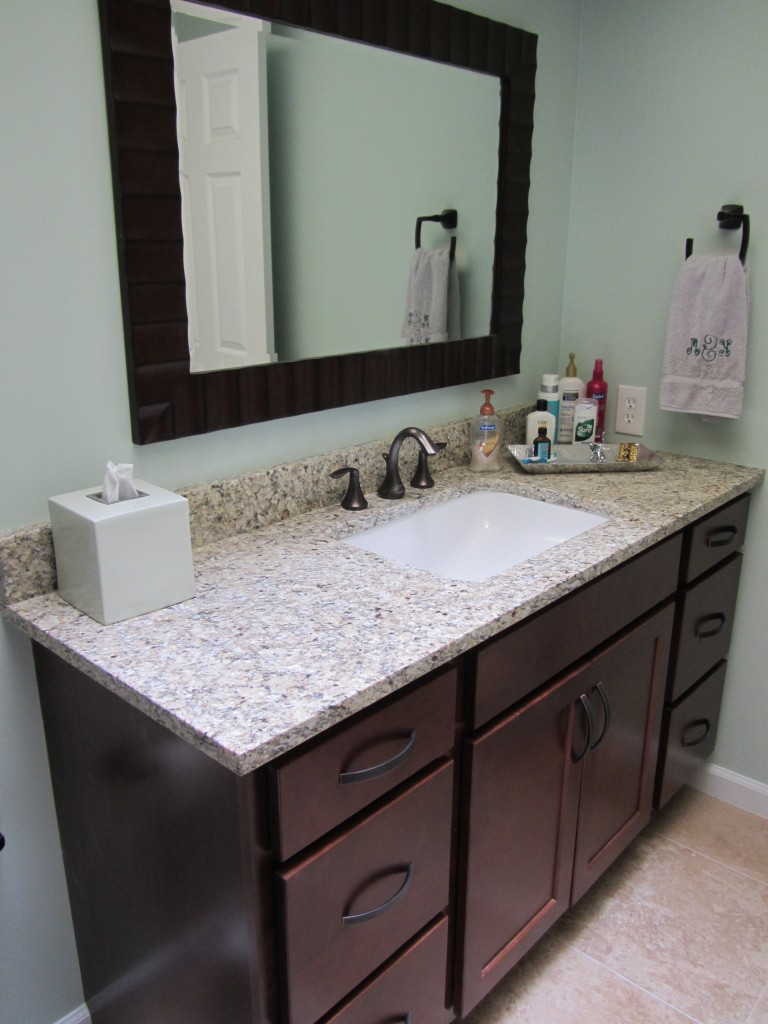 Suede granite vanity top from remnant