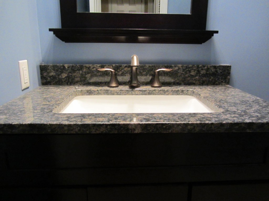 Granite vanity top with rectangular sink