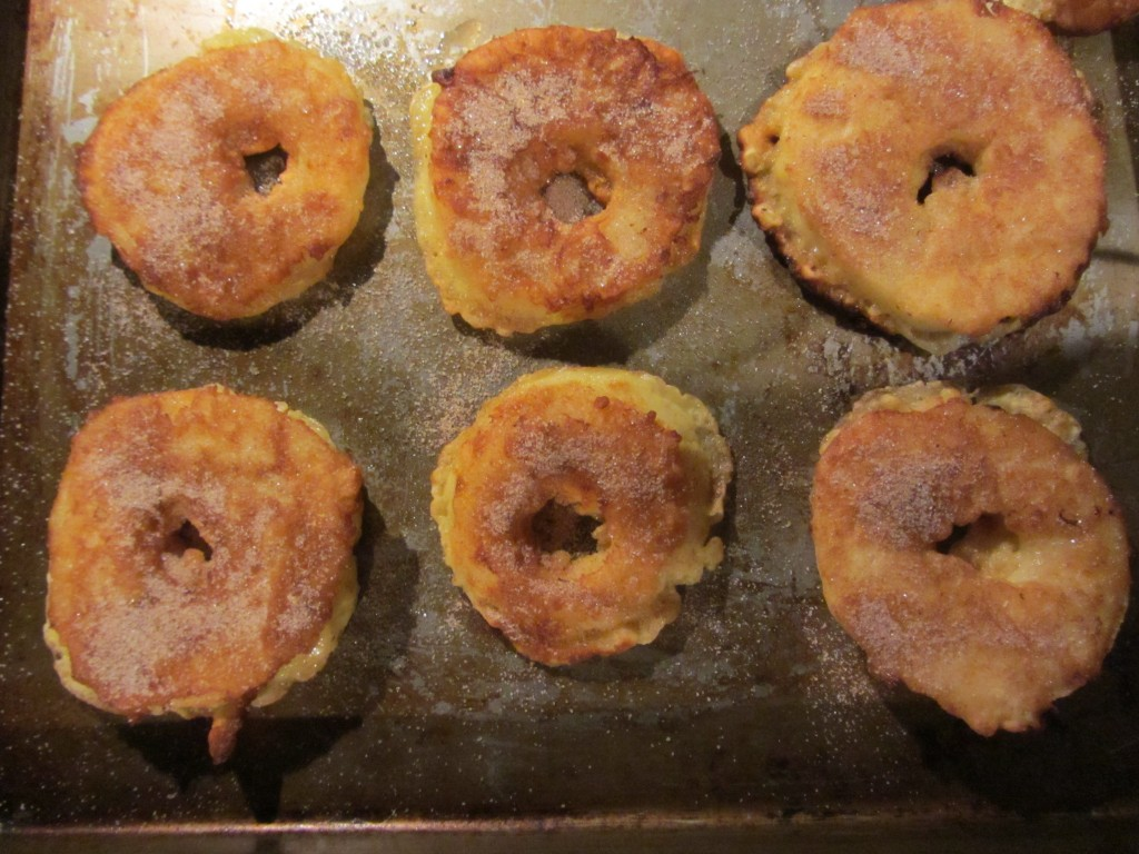 Sweet apple fritter recipe on baking sheet