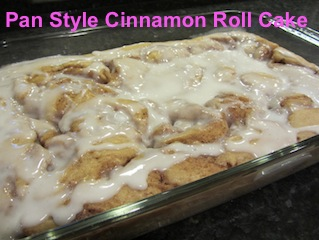 Cinnamon roll cake with icing and caption
