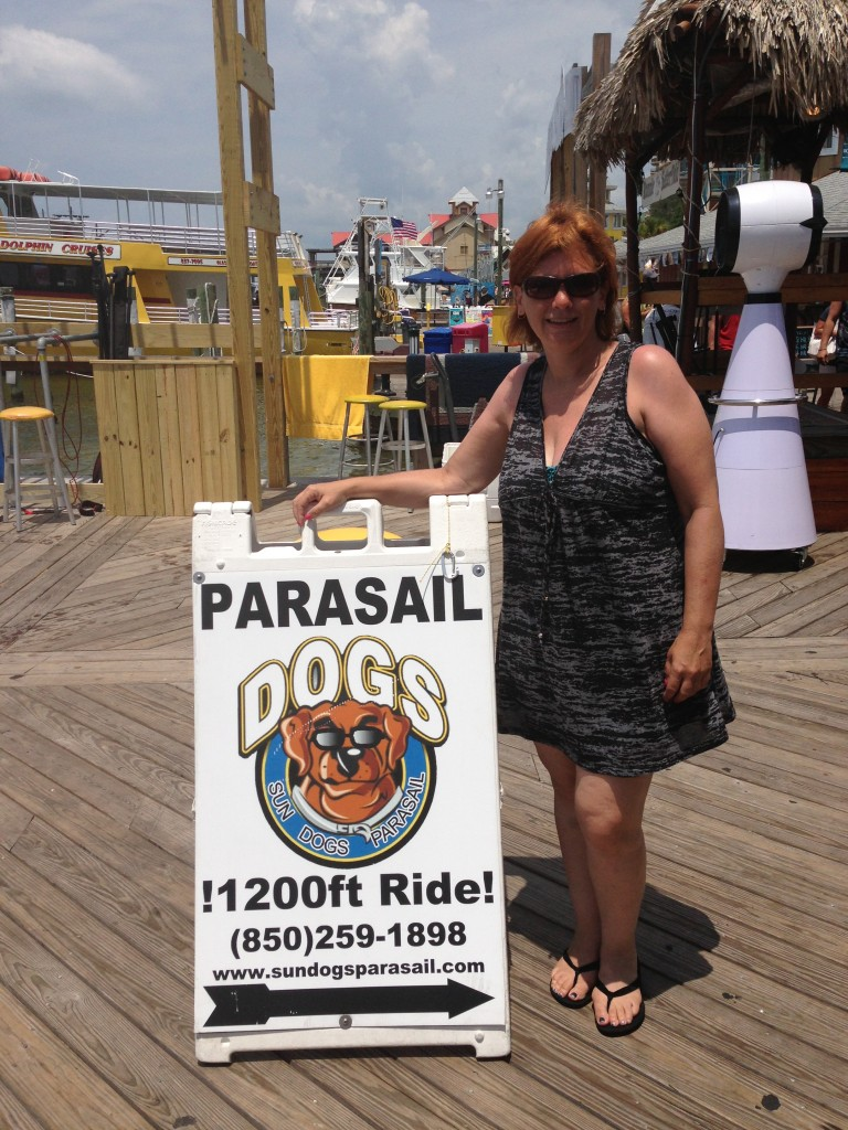 Karen Goodman after parasailing with Sun Dogs Parasail