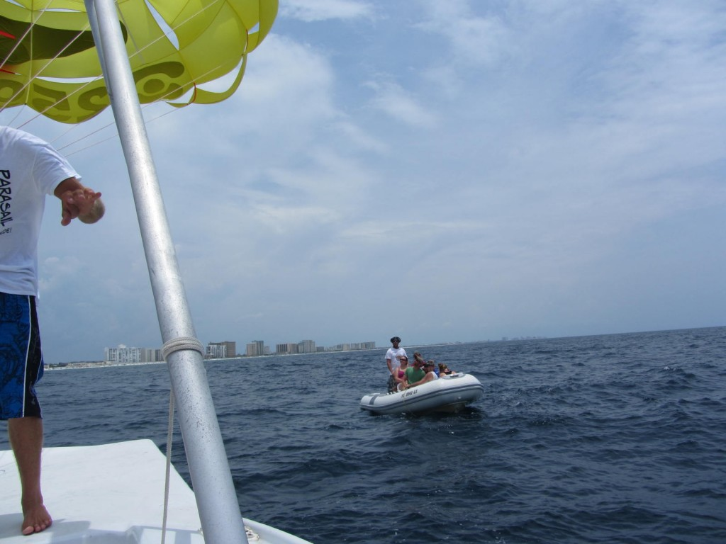 Boat that transports you to parasail boat