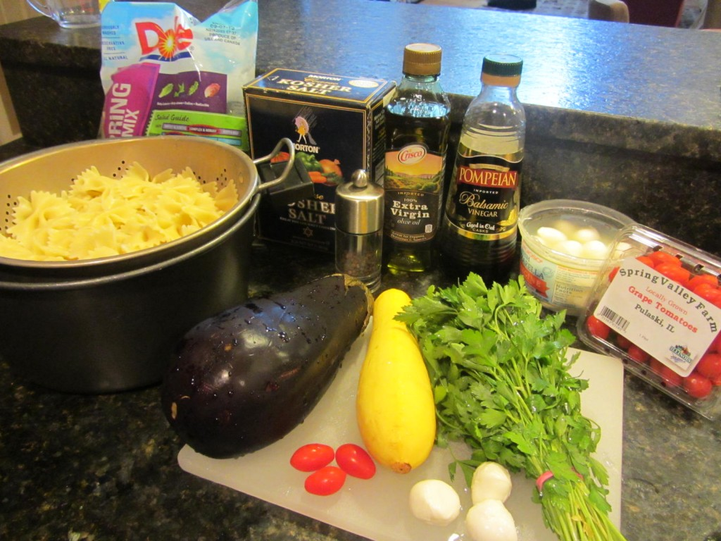 Balsamic Eggplant Pasta Salad ingredients