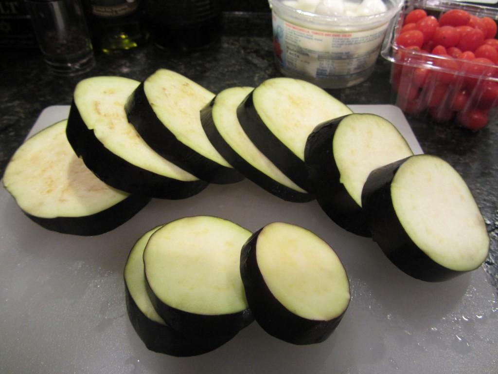 Balsamic Eggplant Pasta Salad - sliced eggplant