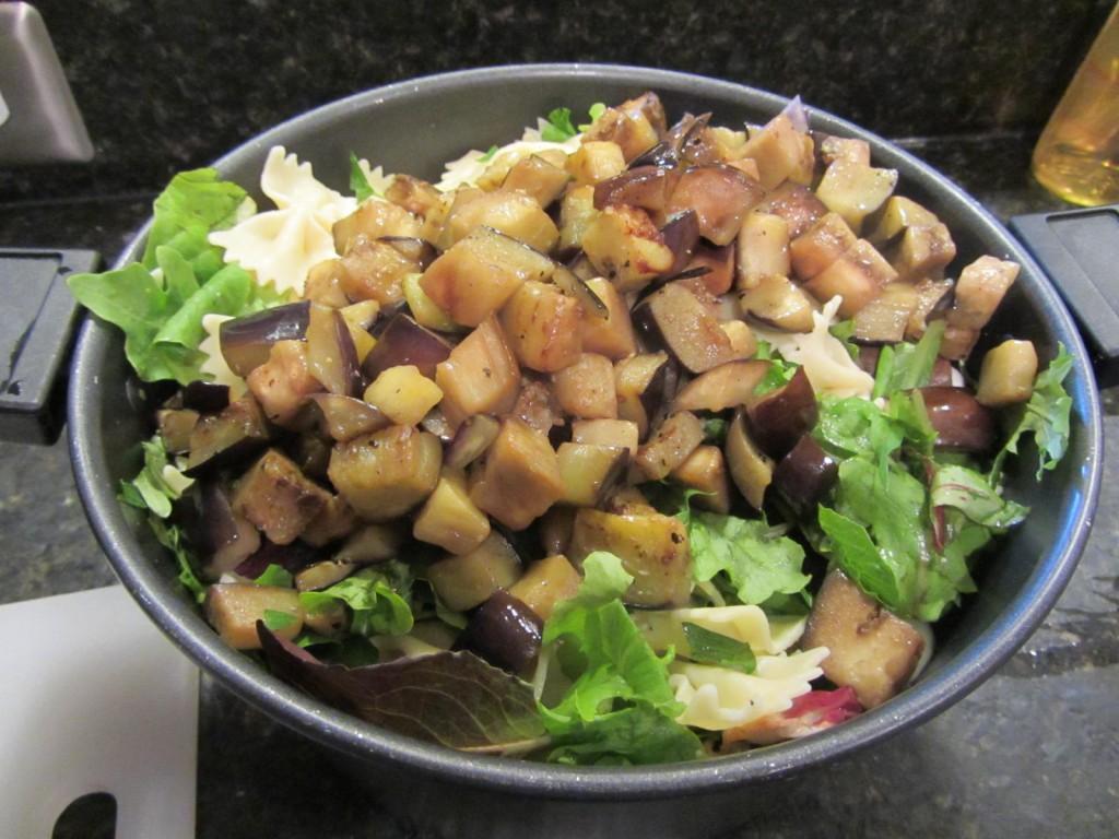 Balsamic Eggplant Pasta Salad - cooked eggplant