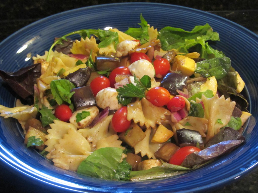 Balsamic Eggplant Pasta Salad - ready to serve