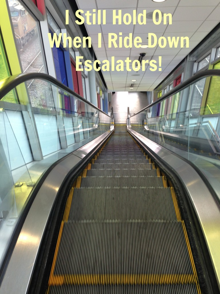 Escalator with caption