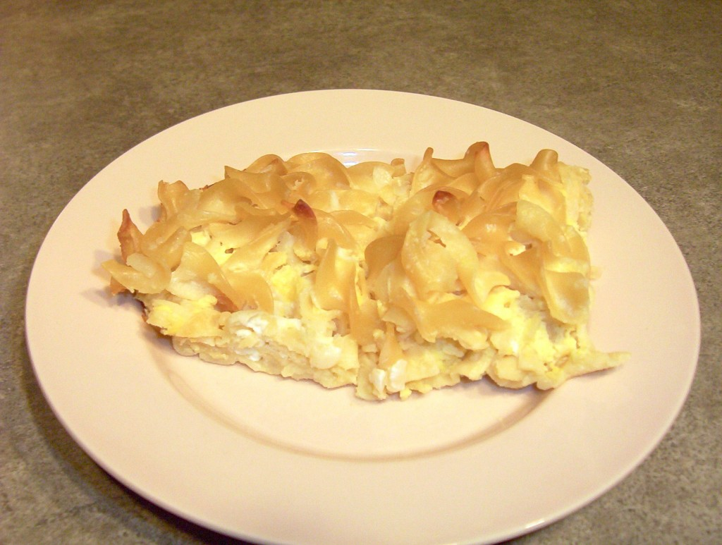 Noodle kugel without any topping served cold the next day – yummy ...