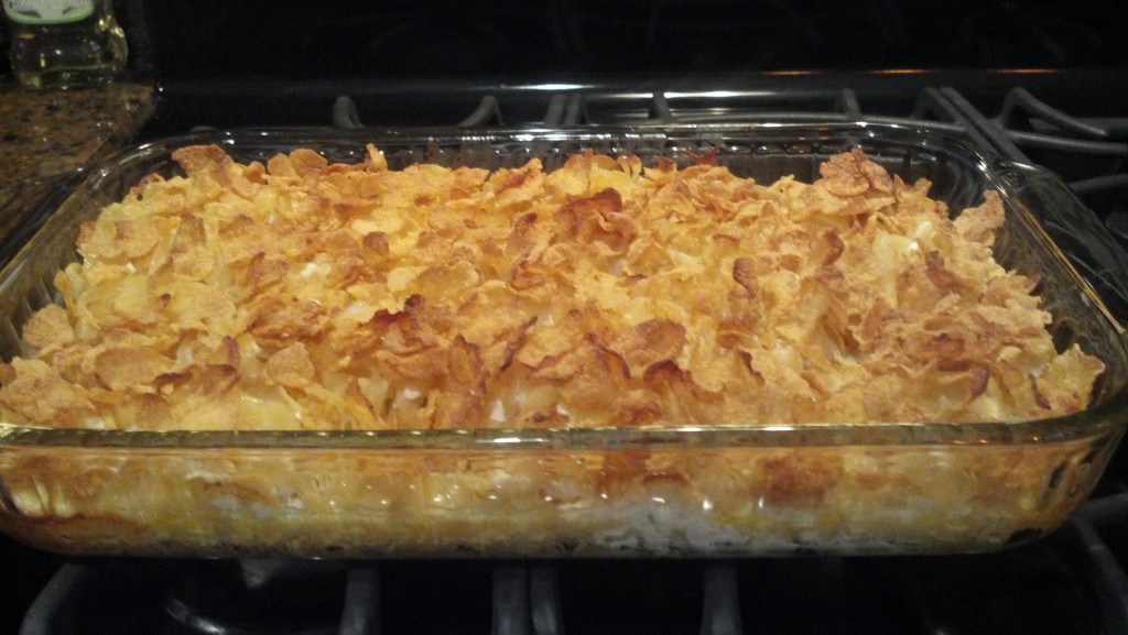 Noodle kugel with cornflakes