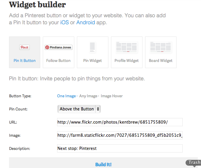 Pinterest Pin It button builder