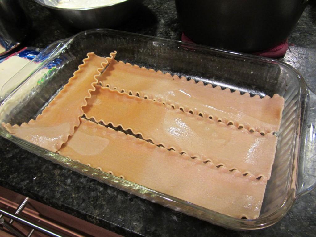 Lasagna noodles in pan