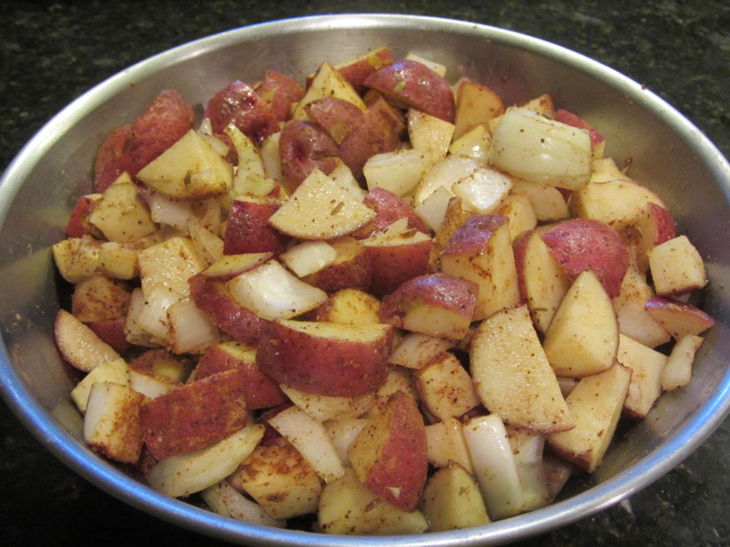 Grilled Spicy Potatoes - ready to go into the foil packet