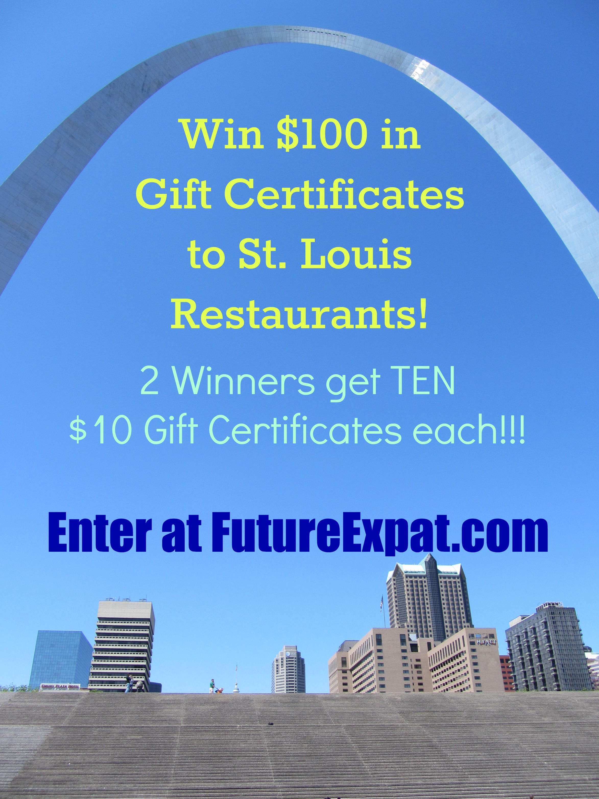 GIVEAWAY ~ $100 in Gift Certificates to St. Louis Restaurants