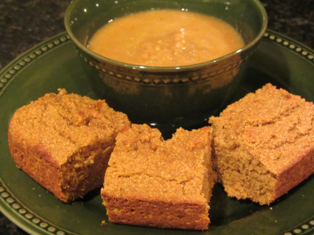 Pumpkin cornbread with soup