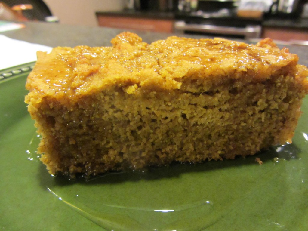Pumpkin cornbread with maple syrup