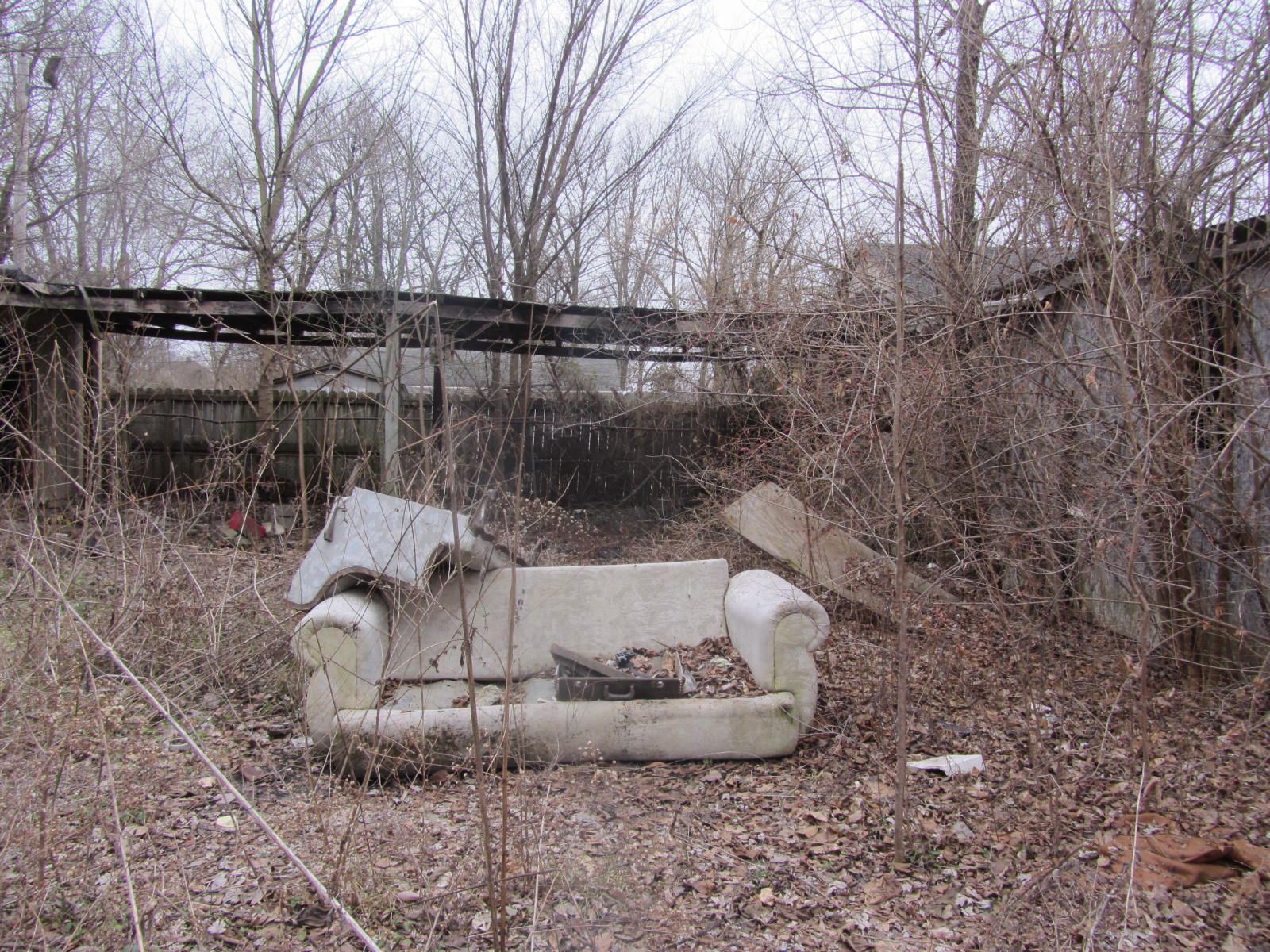 East St. Louis couch in backyard
