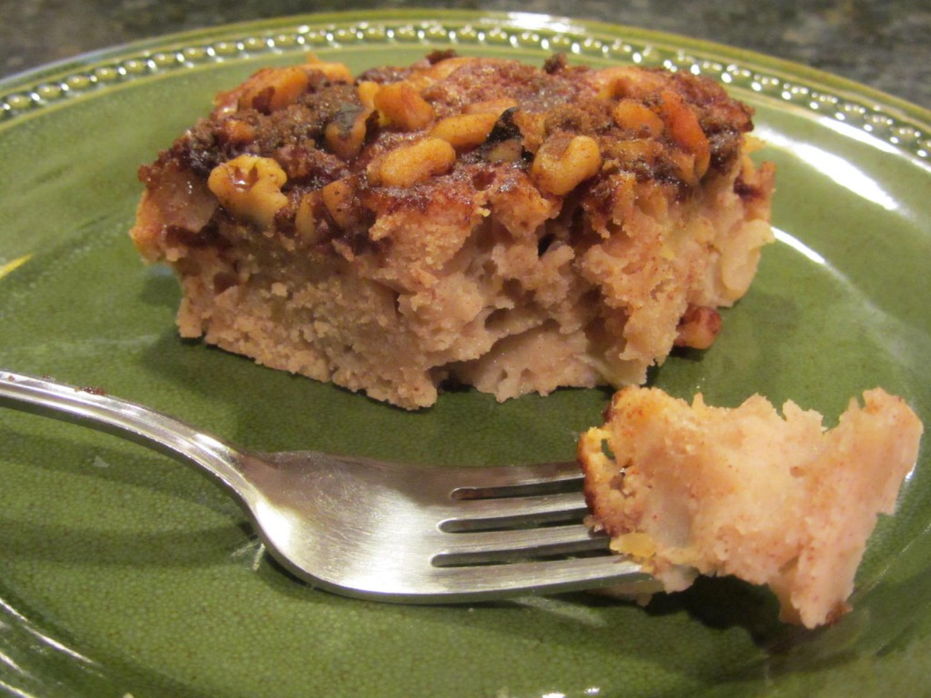Apple pie coffeecake - slice with fork