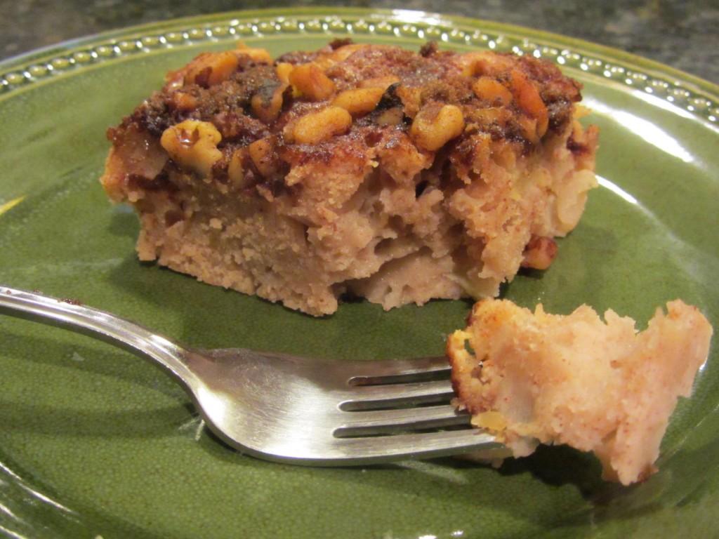Apple pie coffeecake - slice with fork