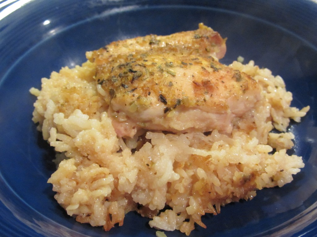 Chicken and rice dinner on plate