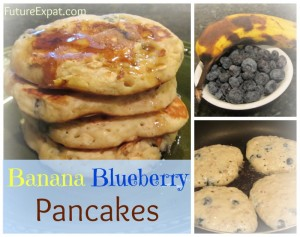 Banana Blueberry Pancakes - Future Expat