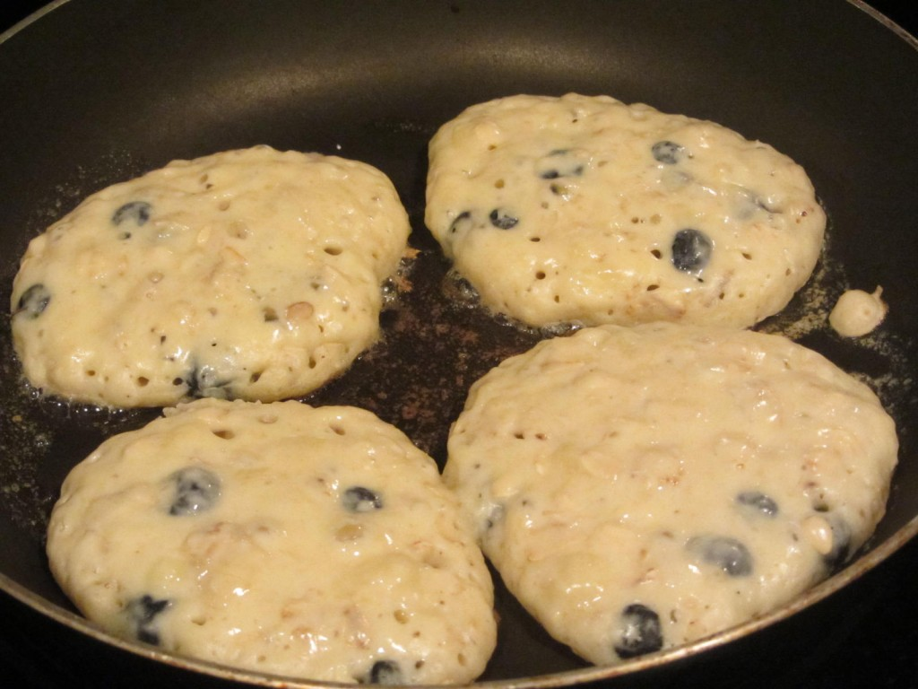 Blueberry banana pancakes - in frying pan