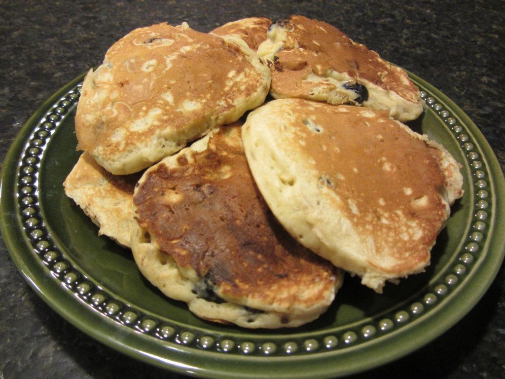 Blueberry banana pancakes on plate