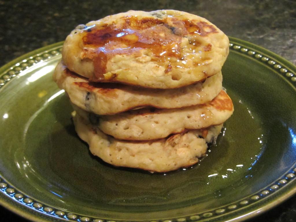 Blueberry banana pancakes stack