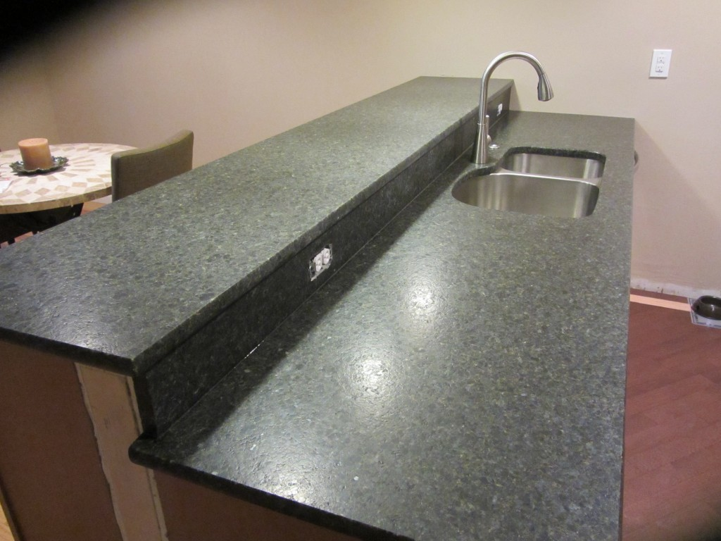 Green suede granite counters
