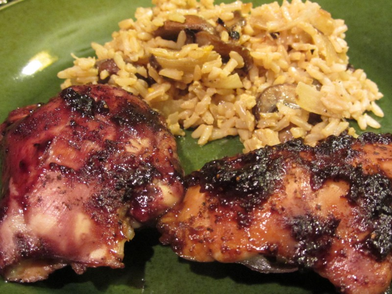 Chicken with jelly with rice