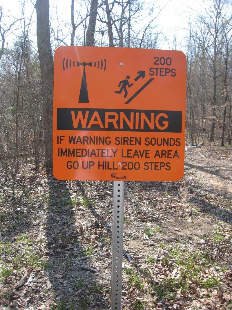 Johnson's Shut-Ins warning sign