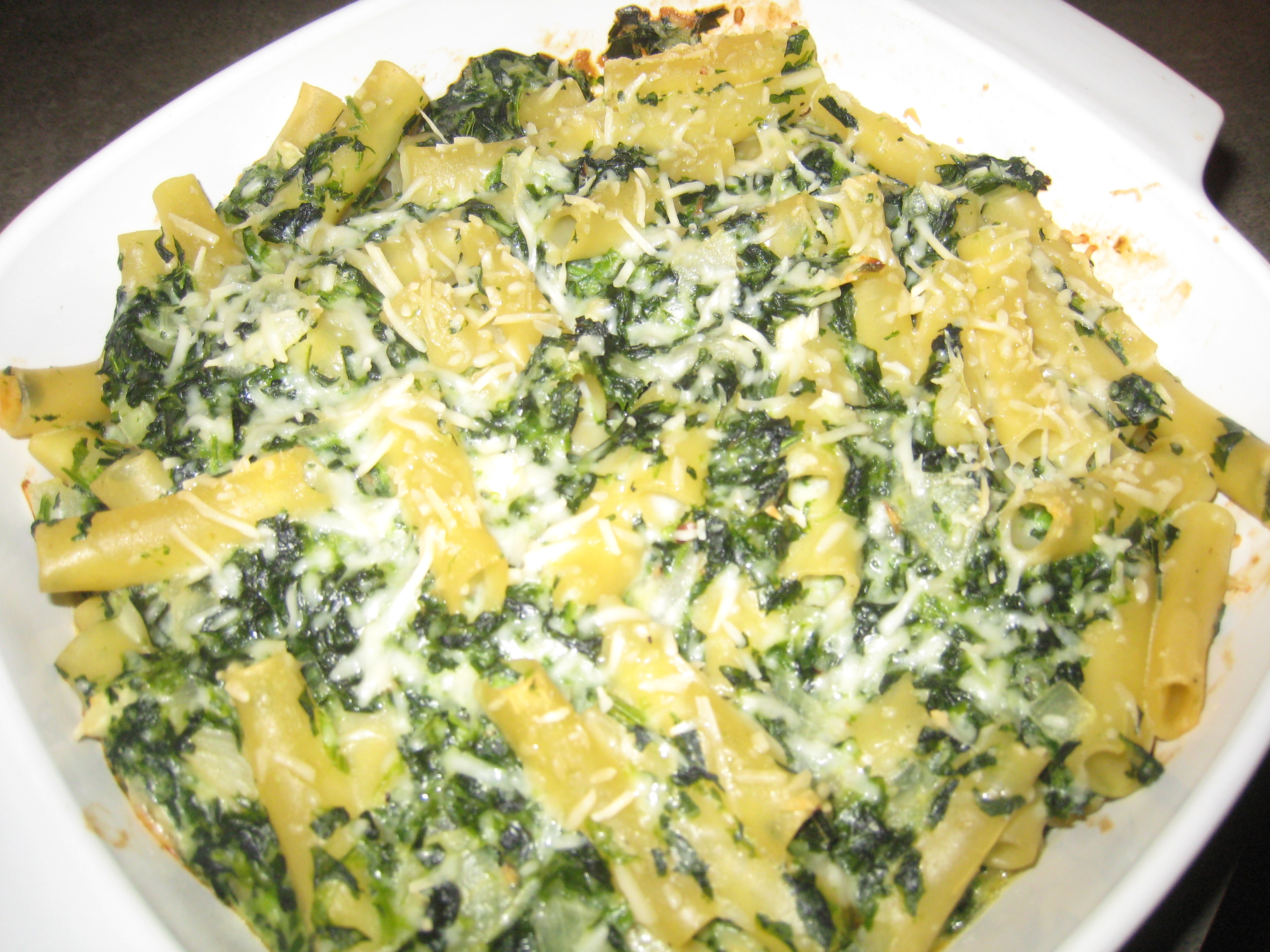 Baked Spinach and Noodles